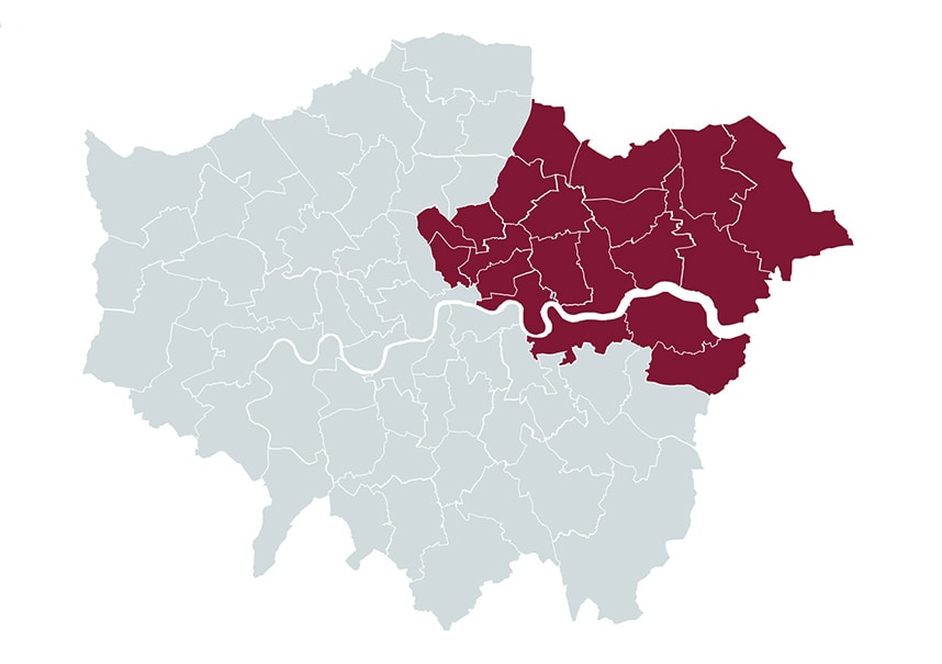 Map of Waste Recycling East London Coverage Area