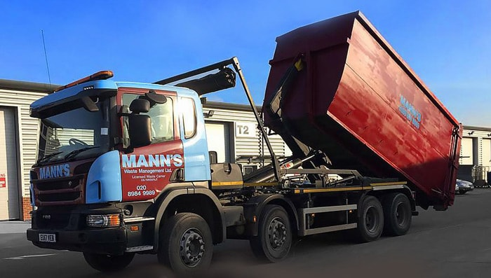 Roll on Roll Off Skip Hire Romford being delivered